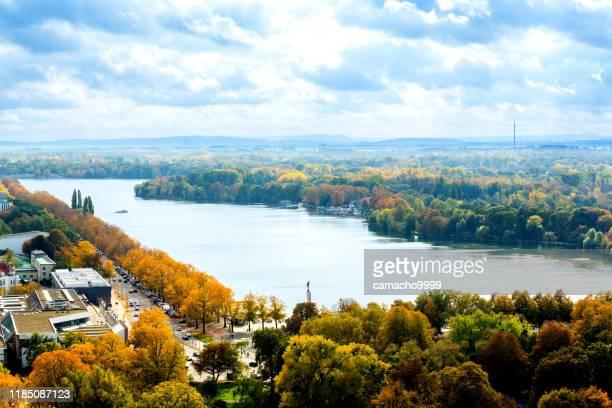 vista panorâmica de hanover que olha ao lago maschsee - hannover - fotografias e filmes do acervo