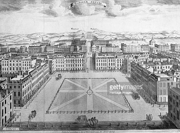 Hanover Square Westminster London early 18th century This view looks north towards the villages of Hampstead and Highgate now part of London The...