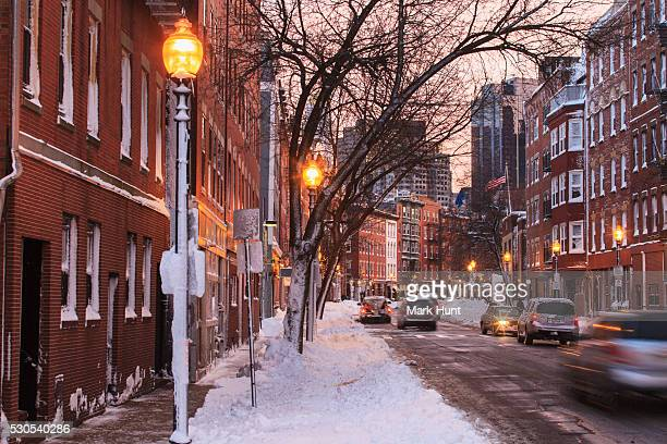 Hanover Street view after blizzard in Boston, Suffolk County, Massachusetts, USA