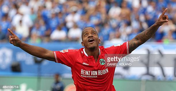 Hanover's Dutch striker Charlison Benschop celebtates after scoring the 11 during the German first division Bundesliga football match SV Darmstadt 98...