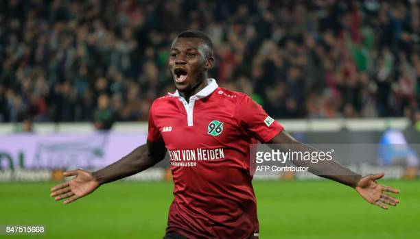 Hanover's Togolese forward Ihlas Bebou celebrate scoring the 20 goal during the German first division Bundesliga football match Hanover 96 vs Hamburg...