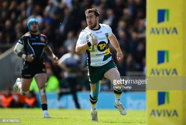 Hanrahan of Northampton Saints goes over for his side's first try during the Aviva Premiership match between Exeter Chiefs and Northampton Saints at...