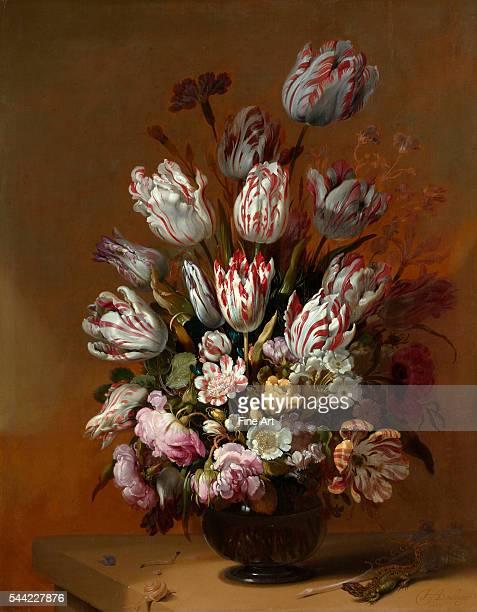 Hans Bollongier , Stilleven met bloemen , 1639. Oil on panel, 53.3 x 67.6 cm . Rijksmuseum, Amsterdam, Netherlands.