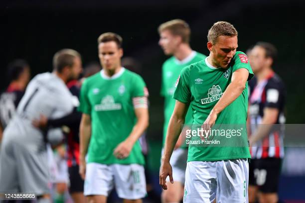 Hans Carl Ludwig Augustinsson of SV Werder Bremen looks dejected after losing the Bundesliga match between SV Werder Bremen and Eintracht Frankfurt...