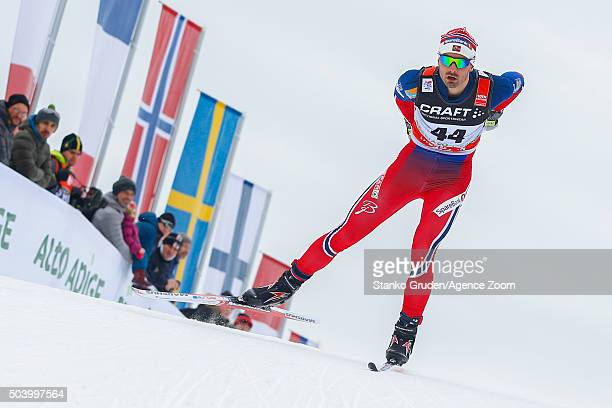 Hans Christer Holund of Norway competes during the FIS Nordic World Cup Men's and Women's Cross Country Tour de Ski on January 8 2016 in Toblach...