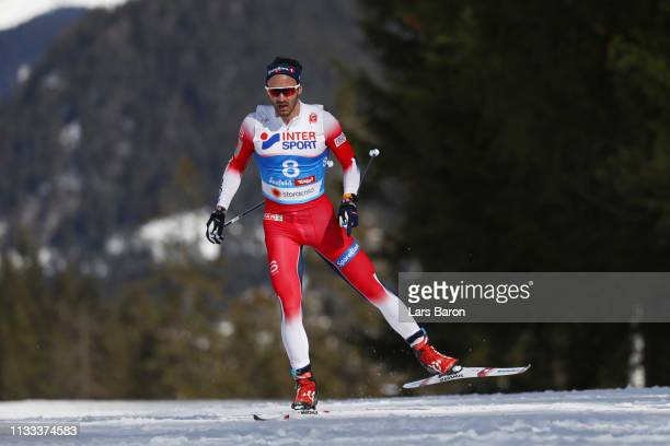 Hans Christer Holund of Norway competes in the Men's Cross Country 50k race during the FIS Nordic World Ski Championships on March 03 2019 in Seefeld...