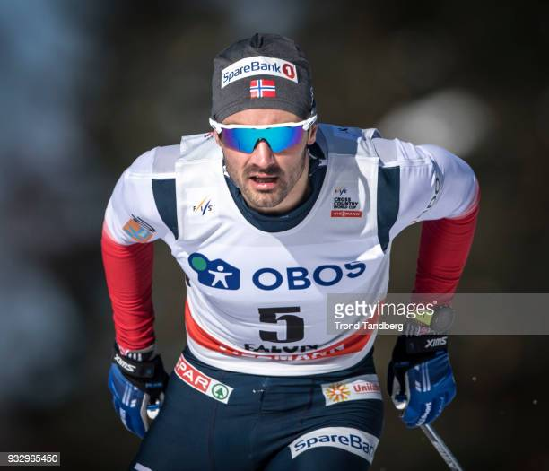 Hans Christer Holund of Norway during sprint prolog men free at Lugnet Stadium on March 16 2018 in Falun Sweden