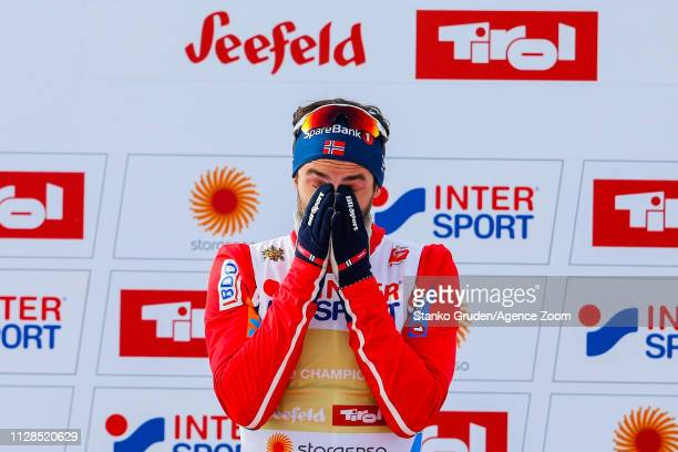 Hans Christer Holund of Norway takes 1st place during the FIS Nordic World Ski Championships Men's Cross Country Mass Start on March 3 2019 in...