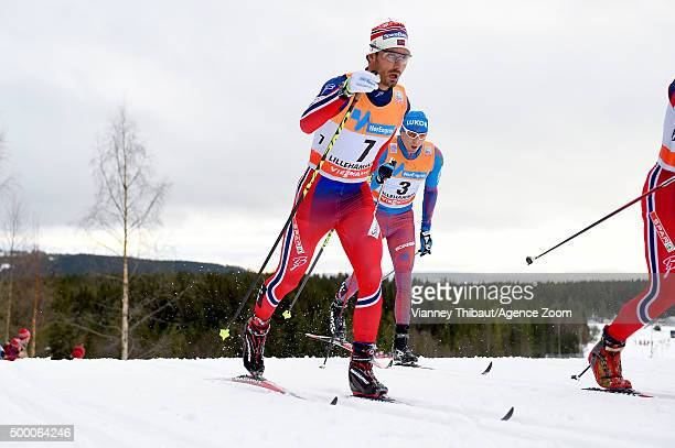 Hans Christer Holund of Norway takes 3rd place during the FIS Nordic World Cup Men's and Women's Cross Country Skiathlon on December 05 2015 in...