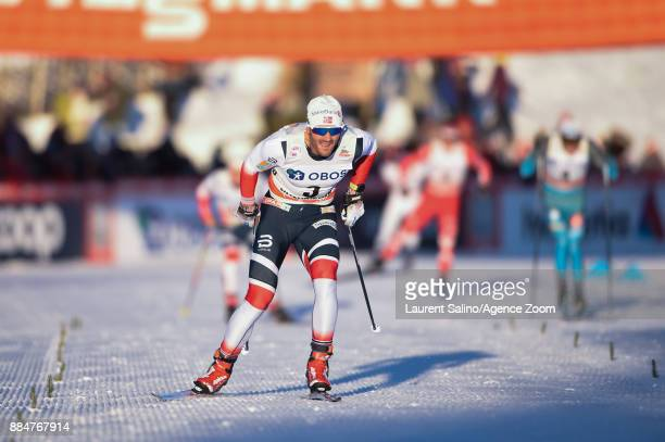 Hans Christer Holund of Norway takes joint 3rd place during the FIS Nordic World Cup Men's and Women's Cross Country Skiathlon on December 3 2017 in...