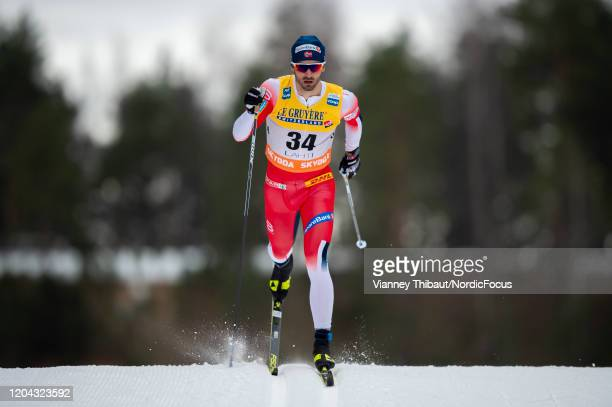 Hans Christer Holund of Norway takes third place during the Men's 15 km C at the FIS Cross-Country World Cup Lahti on February 29, 2020 in Lahti,...