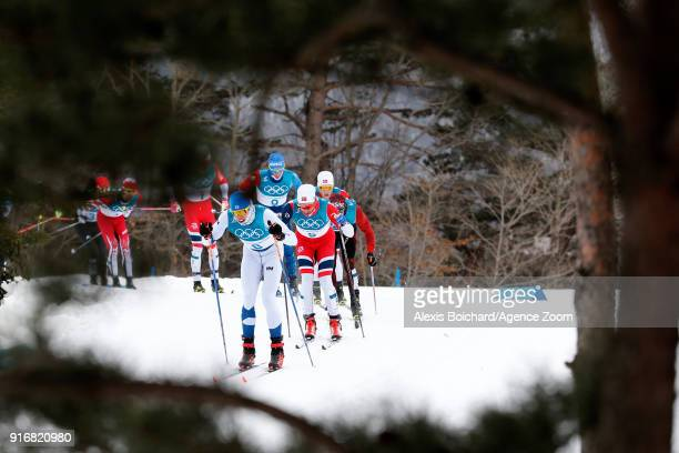 Hans Christer Holund of Norway wins the bronze medal during the CrossCountry Men's Skiathlon at Alpensia CrossCountry Centre on February 11 2018 in...