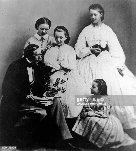 Hans Christian Andersen Danish Writer Portrait Reading Story to Young Girls circa 1860's