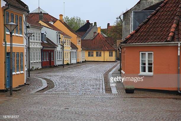 hans christian andersen house odense on a rainy day - pejft stock pictures, royalty-free photos & images