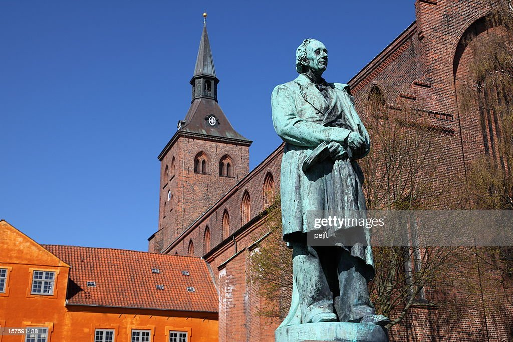 Hans Christian Andersen in his home town Odense : Stock Photo