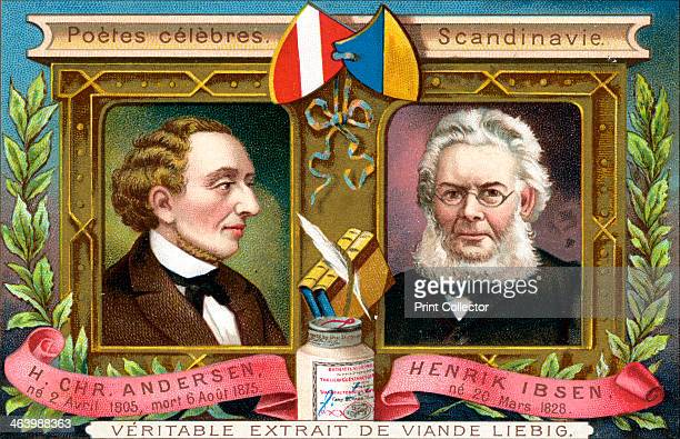 Hans Christian Anderson and Henrik Ibsen c1900 Scandinavian poets of the 19th century French advertising for Liebig extract of meat c1900