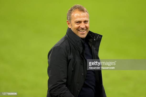 Hans Dieter Flick head coach of FC Bayern Muenchen looks on after the Supercup 2020 match between FC Bayern München and Borussia Dortmund at Allianz...