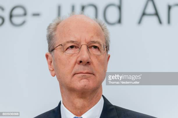 Hans Dieter Poetsch CEO of German company Porsche SE attends the company's annual press conference at Porsche museum in Stuttgart on March 21 2017 in...