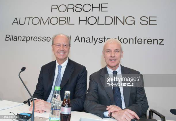Hans Dieter Poetsch CEO of Porsche Automobil Holding SE and Matthias Mueller member of the executive board for strategy and corporate development...
