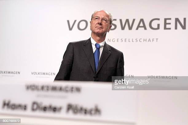 Hans Dieter Poetsch Chairman of the Supervisory Board of Volkswagen AG arrives to the press conference to announce the latest update in the company's...
