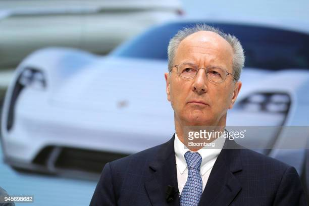 Hans Dieter Poetsch chairman of Volkswagen AG pauses during a news conference at the automakers headquarters in Wolfsburg Germany on Friday April 13...