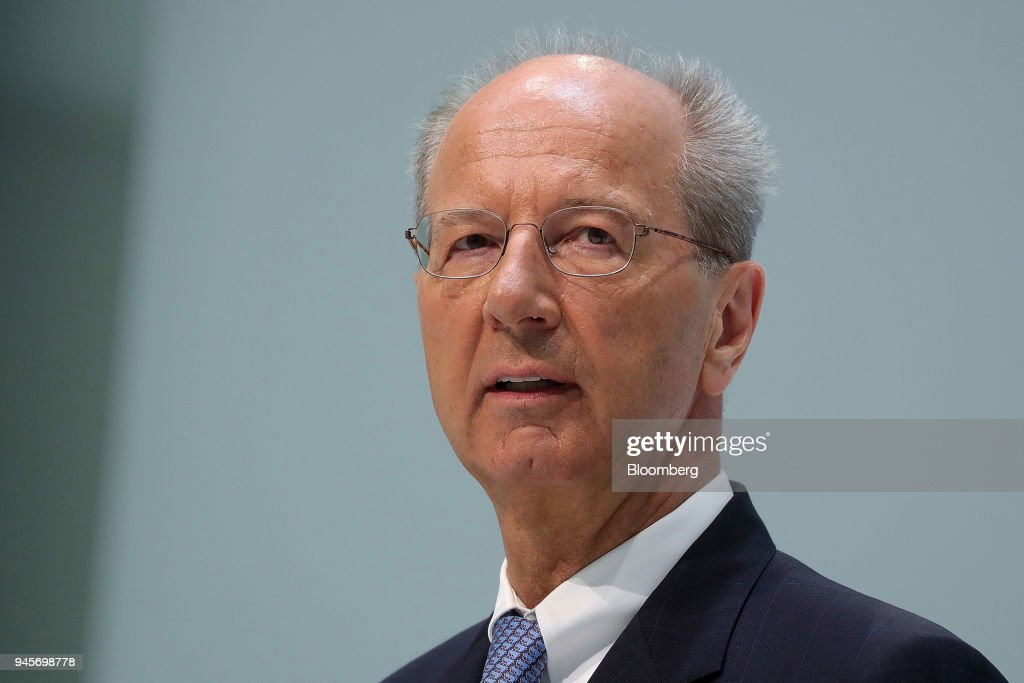 Hans Dieter Poetsch, chairman of Volkswagen AG (VW), speaks during a news conference at the automakers headquarters in Wolfsburg, Germany, on Friday, April 13, 2018. Herbert Diess, the head of VWs namesake brand, will become chief executive officer as well as overseeing technology across the organization, the company said Thursday in a statement. Photographer: Krisztian Bocsi/Bloomberg via Getty Images