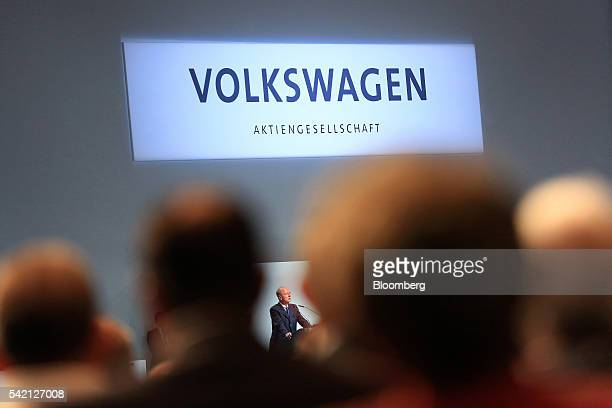 Hans Dieter Poetsch chairman of Volkswagen AG speaks to shareholders during an annual general meeting in Hannover Germany on Wednesday June 22 2016...