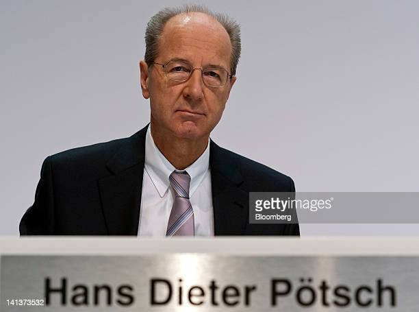 Hans Dieter Poetsch chief financial officer of Volkswagen AG pauses during the Porsche Automobile Holding SE results news conference in Stuttgart...