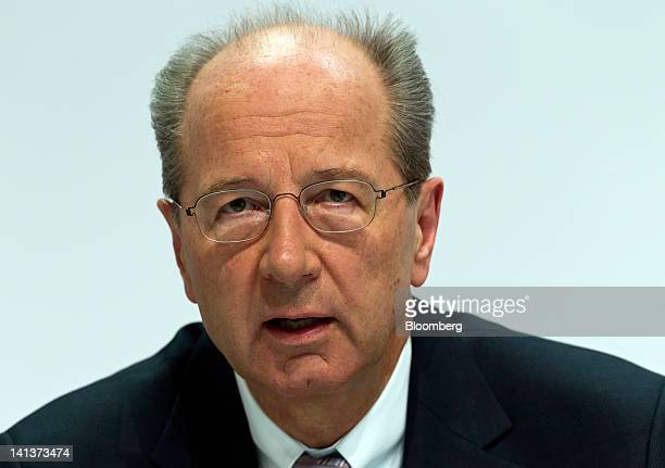 Hans Dieter Poetsch chief financial officer of Volkswagen AG speaks during the Porsche Automobile Holding SE results news conference in Stuttgart...