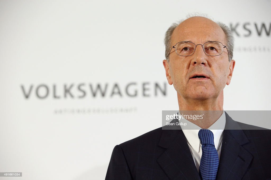Hans Dieter Poetsch speaks to the media after Volkswagen board members elected Poetsch as new chairman of the supervisory board of Volkswagen Group at Volkswagen headquarters on October 7, 2015 in Wolfsburg, Germany. Volkswagen, struggling to reassert itself following the diesel engines software scandal, is shuffling board members among new finctions. The software, which Volkswagen purposefully installed in order to manipulate diesel emissions results under testiung conditons, affects 11 million Volkswagen cars worldwide and the revelation by the U.S. Environmental Protections Agency (EPA) that it exists has plunged Volkswagen into its deepest crisis in its history.