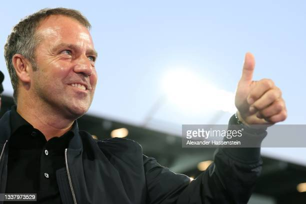 Hans Dieter-Flick, Head Coach of Germany reacts prior to the 2022 FIFA World Cup Qualifier match between Liechtenstein and Germany at Kybunpark on...