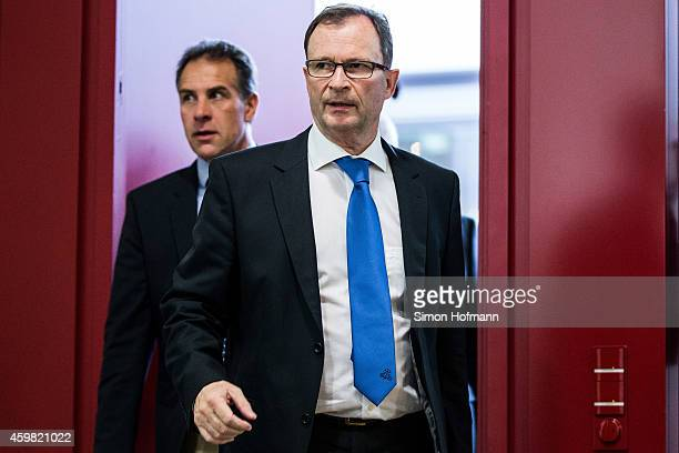 Hans E Lorenz president of the court arrives prior to the decision of DFB Court on the objection to the length of a 3 match ban in the DFB Cup which...