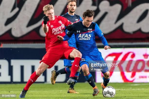 Hans Fredrik Jensen of FC Twente Joris van Overeem of AZ during the Dutch Eredivisie match between FC Twente Enschede and AZ Alkmaar at the Grolsch...