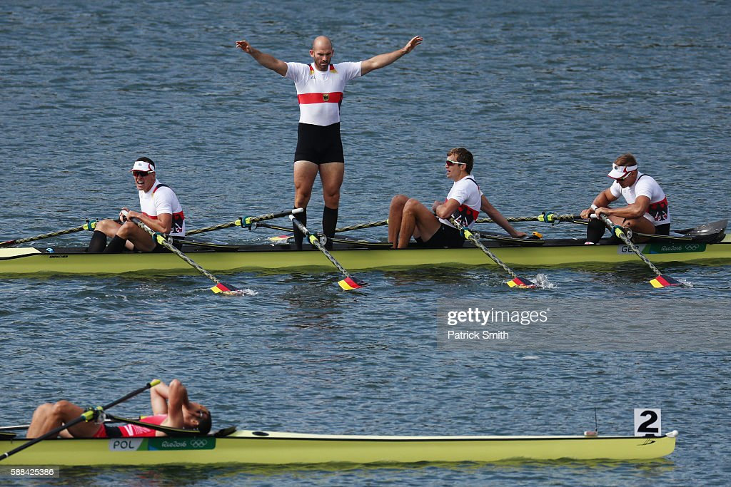 Hans Gruhne, Karl Schultze, Lauritz Schoof, and Philipp Wende of Germany react after winning the gold medal in the Men's Quadruple Sculls Final A on Day 6 of the 2016 Rio Olympics at Lagoa Stadium on August 11, 2016 in Rio de Janeiro, Brazil.