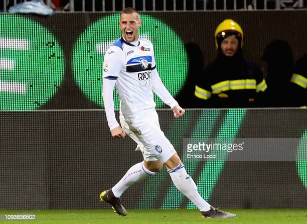 Hans Hateboer of Atalanta celebrates his goal 01 during the Serie A match between Cagliari and Atalanta BC at Sardegna Arena on February 4 2019 in...