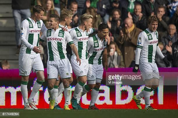 AZ Hans Hateboer of FC Groningen Bryan Linssen of FC Groningen Tom van Weert of FC Groningen Albert Rusnak of FC Groningen Tom Hiariej of FC...