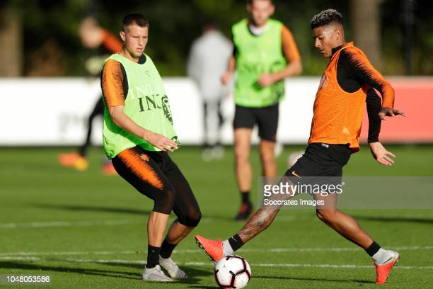 Hans Hateboer of Holland Patrick van Aanholt of Holland during the Training Holland at the KNVB Campus on October 9 2018 in Zeist Netherlands
