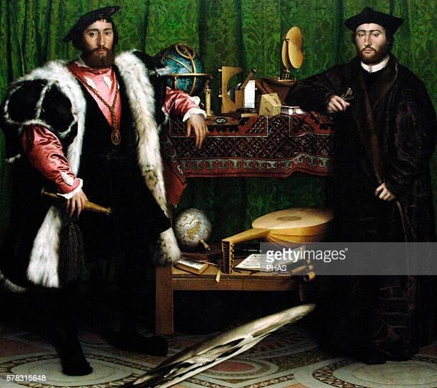 Hans Holbein the Younger German artist Renaissance The Ambassadors 1533 Portrays Jean de Dinteville and Georges de Selve the ambassadors of Francis I...