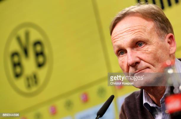 Hans Joachim Watzke chairman of the board of Dortmund is seen during the press conference at Signal Iduna Park on December 10 2017 in Dortmund Germany