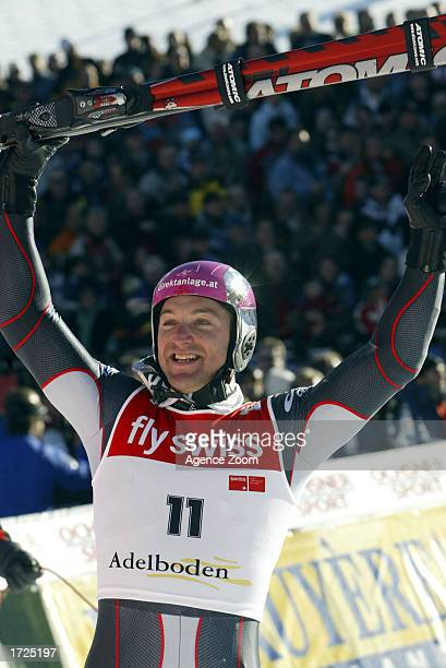 Hans Knauss of Austria celebrates his first place finish after the FIS World Cup Men's Giant Slalom on January 14 2003 in Adelboden Switzerland