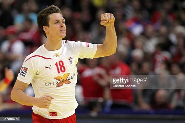 Hans Lindberg of Denmark celebrates a goal during the Men's European Handball Championship final match between Serbia and Denmark at Beogradska Arena...