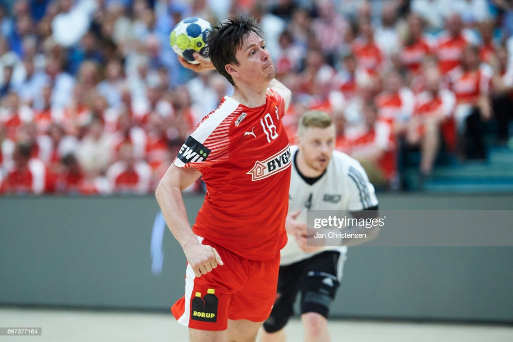 Hans Lindberg of Denmark in action during the European Championship Croatia 2018 Playoff match between Denmark and Latvia at Sydbank Arena on June 18, 2017 in Kolding, Denmark.