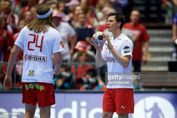 Hans Lindberg of Denmark in action during the IHF Men's World Championships Handball Final between Denmark and Norway in Jyske Bank Boxen on January...