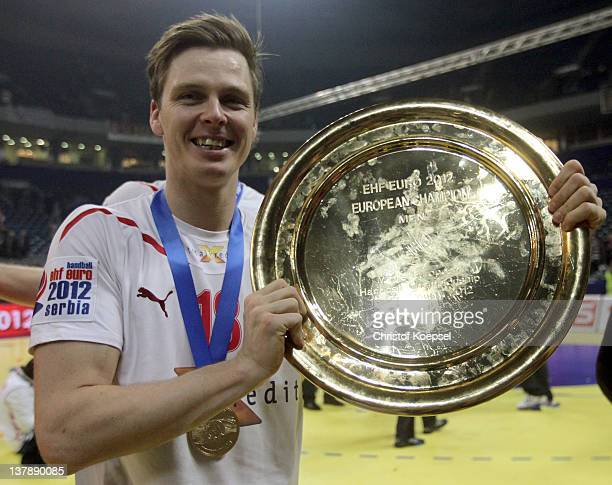 Hans Lindberg of Denmark poses with the EHF tropy after winning 21-19 the Men's European Handball Championship final match between Serbia and Denmark...