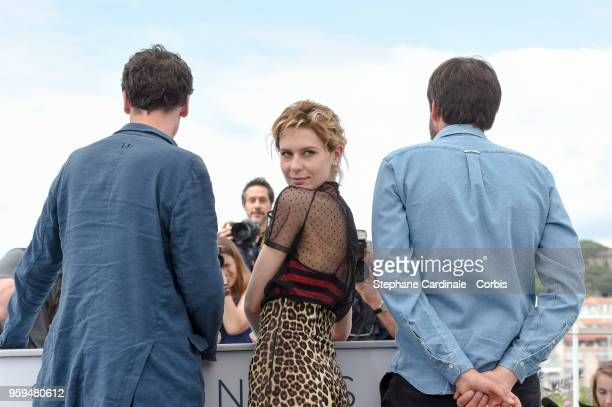 Hans Loew Elena Radonicich and director Ulrich Koehler attend 'In My Room' Photocall during the 71st annual Cannes Film Festival at Palais des...