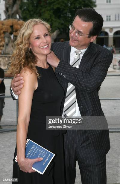 "Hans Mahr , head of German television station RTL, and television hostess Katja Burkard pose prior to the premiere of ""Jedermann"" on July 28, 2007 in..."