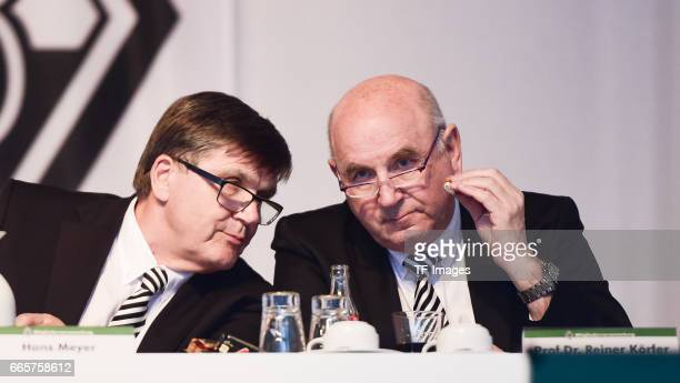 Hans Meyer and Prof.Dr. Reiner Körfer is seen during the Borussia Mönchengladbach Annual Meeting at the Borussia Park on April 3, 2017 in...