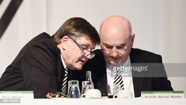 Hans Meyer and ProfDr Reiner Körfer is seen during the Borussia Mönchengladbach Annual Meeting at the Borussia Park on April 3 2017 in...