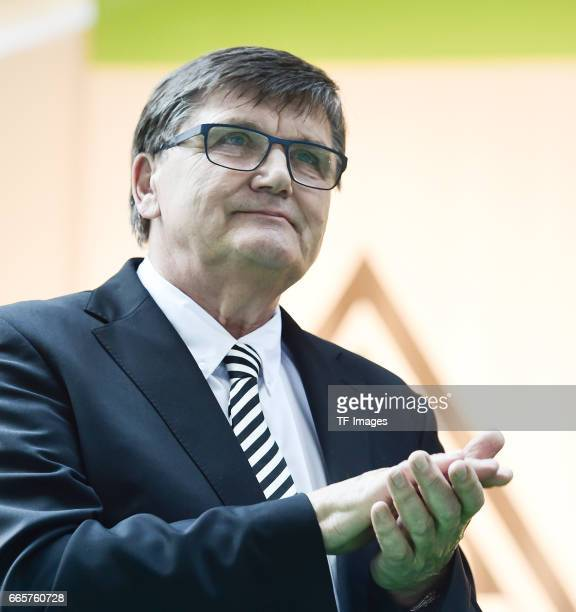 Hans Meyer is seen during the Borussia Mönchengladbach Annual Meeting at the Borussia Park on April 3, 2017 in Moenchengladbach, Germany.