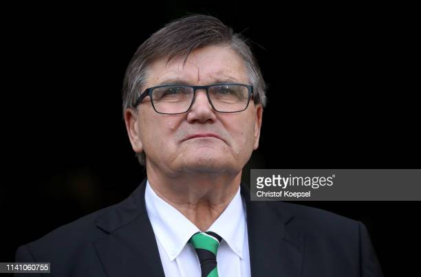 Hans Meyer, memmber of the board of Moenchengladbach looks on prior to the Bundesliga match between Borussia Moenchengladbach and SV Werder Bremen at...